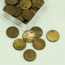 Biserna matica krog 15mm, olivno zelena 25kos