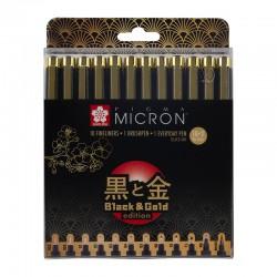 Pigma Micron Črno Zlata edicija set 12