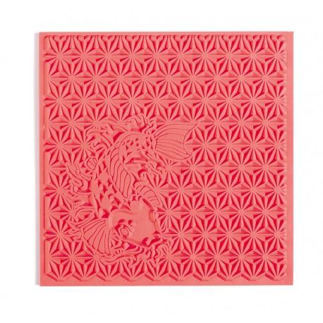 Teksturna plošča iz gume 9x9cm za Polymerni gline in Japanese