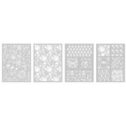 Šablona-sito za sitotisk Silkscreen 114x153mm Rastlinski vzorci 4 kosi