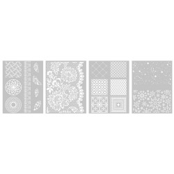 Šablona-sito za sitotisk Silkscreen 114x153mm Deco vzorci 4 kosi