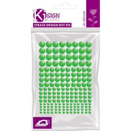 Kovinski krogci za likanje 3-4-5-6mm Fluo zelena 176 kosov
