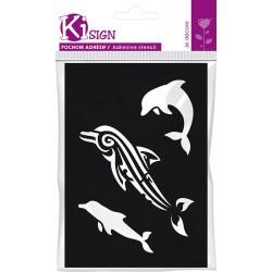Samolepilna fleksebilna šablona 7 x 10cm Delfin