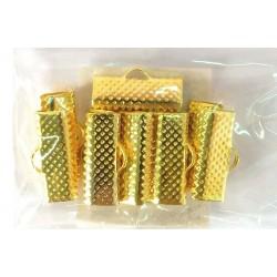 Zaključek za trak nazobčena sponka-klipsna 16 x 6mm, Zlate b. 10 kosov