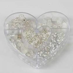 Steklene perle 3mm - 10mm, prozorno bele