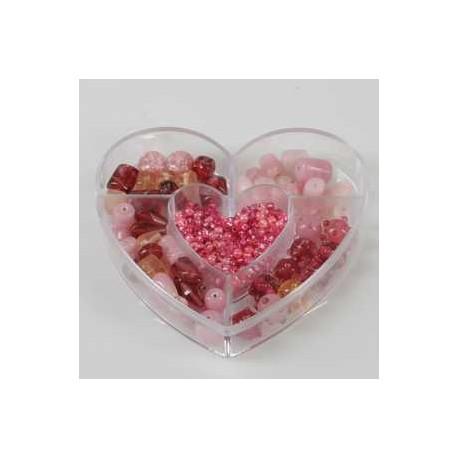 Steklene perle 3mm - 10mm, roza