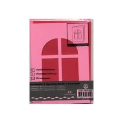 Voščilnica+paus papir+kuverta A5 okno, Pink, 3kosi