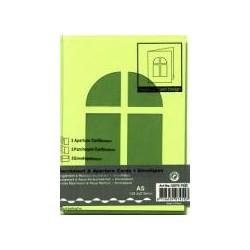 Voščilnica+paus papir+kuverta A5 okno, Pa. zelena, 3kosi
