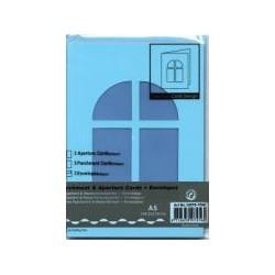 Voščilnica+paus papir+kuverta A5 okno, Pa. modra, 3kosi