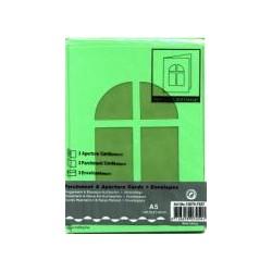 Voščilnica+paus papir+kuverta A5 okno, Zelena, 3kosi