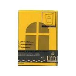 Voščilnica+paus papir+kuverta A5 okno, Rumena, 3kosi