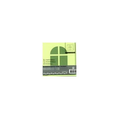 Voščilnica+paus p+kuverta 125x125m okno, Pa. zelena.3kos