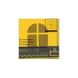 Voščilnica+paus p+kuverta 125x125m okno, Rumena.3kosi