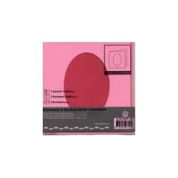 Voščilnica+paus p+kuverta 125x125m oval, Pink,3kosi