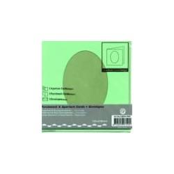 Voščilnica+paus p+kuverta 125x125m oval, Zelena, 3kosi