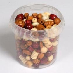 Lesene perle mešane natur barve 250g.