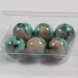 Marmorirne p. svetleče okrogle 18mm, Zelene/Rjave, 6kos