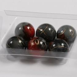 Marmorirne p. svetleče okrogle 18mm, Črno/Rjave, 6kos
