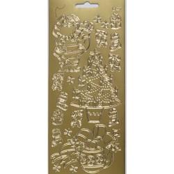Konturna nalepka zlata Božiček + bunkica POVEČAJ
