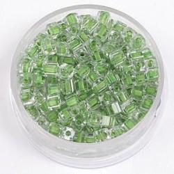 Perle kocke 3 x 3mm, barvna sredica zelena 20g.