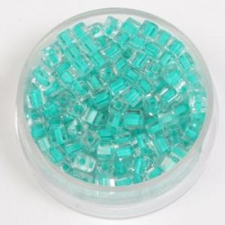 Perle kocke 3 x 3mm, barvna sredica turkizna 20g.
