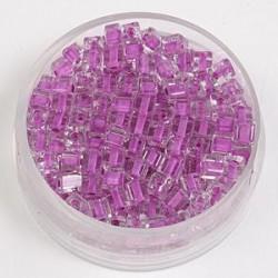 Perle kocke 3 x 3mm, barvna sredica lila 20g.