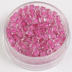 Perle kocke 3 x 3mm, barvna sredica sv. roza 20g.