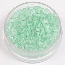 Perle kocke 3 x 3mm, barvna sredica sv. zelena 20g.