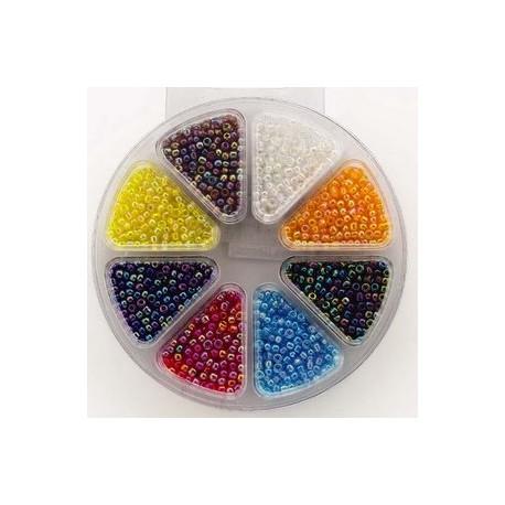 Kompleti steklenih perl, 8 različnih barv