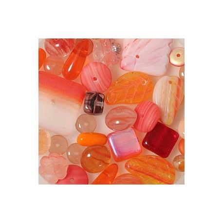 Steklene perle mešane 4-15mm,oranžne 75g.