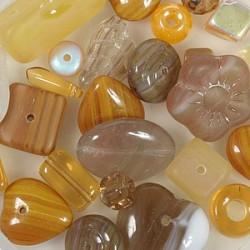 Steklene perle mešane 4-15mm,rjave 75g.