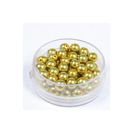 Voščene steklene perle 4mm, olivne, 100kos