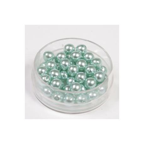 Voščene steklene perle 4mm, turkizne, 100kos