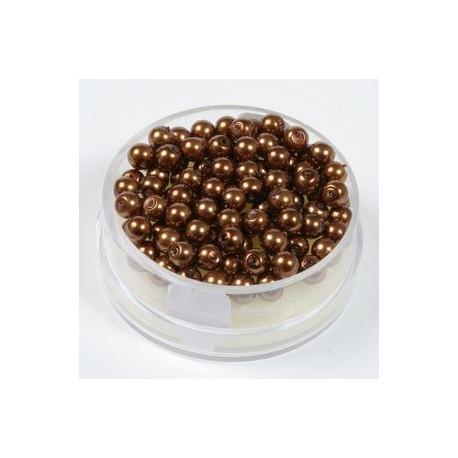 Voščene steklene perle 4mm, tem. rjave, 100kos