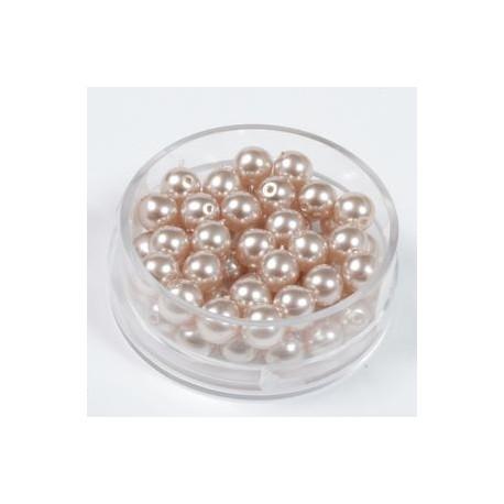 Voščene steklene perle 4mm, sv. rjave, 100kos