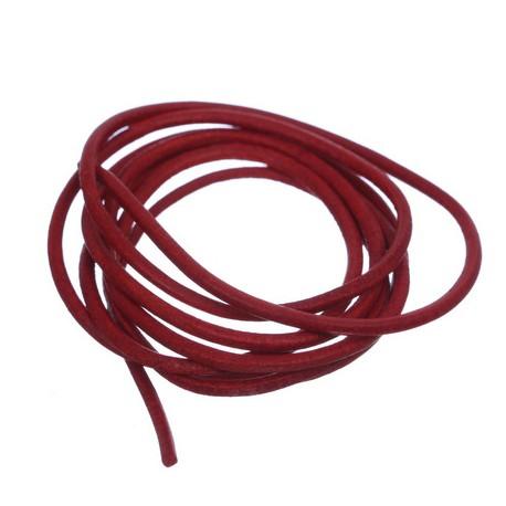 Usnjena vrvica 2mm, Rdeča, 1Meter