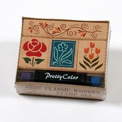 Lesene štampiljke Rože + 2x barva