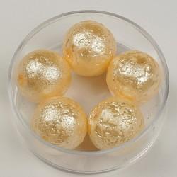Steklene perle metalni efekt krem 14mm, 5kos