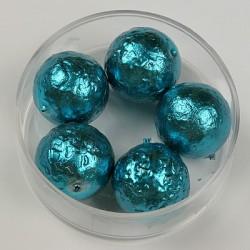 Steklene perle metalni efekt turkizne 14mm, 5kos