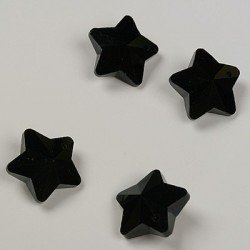 Stekleni brušeni obeski Zvezde 13 x 11mm, Črni, 4kosi