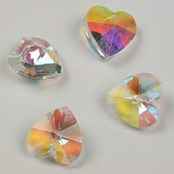 Stekleni brušeni obeski Srce 14 x 13mm, AB prozorni, 4kosi