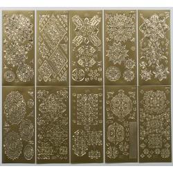 Komplet 10 3D nalepk ornamentne zlate