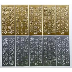 Komplet 10 Božičnih nalepk zlate/srebrne