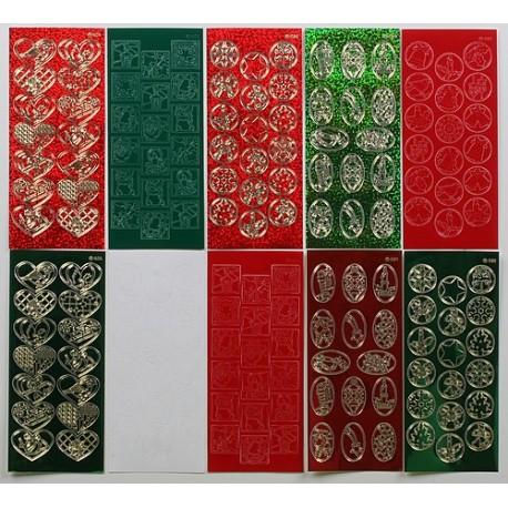 Komplet 10 Božičnih nalepk barvaste