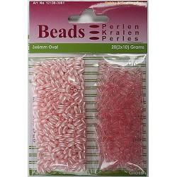 Ovalne perle perla - transp. 3 x 6mm, Roza 2 x 10g.
