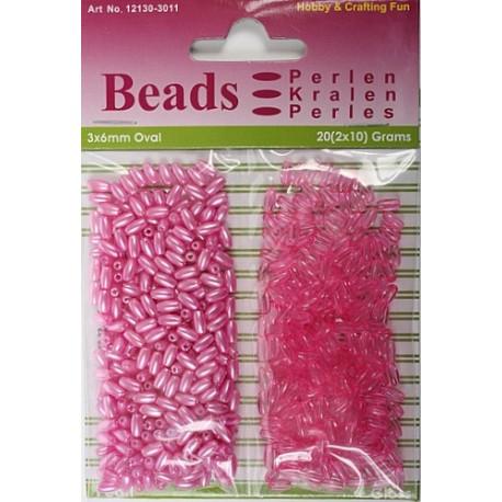 Ovalne perle perla - transp. 3 x 6mm, Fuksija 2 x 10g.