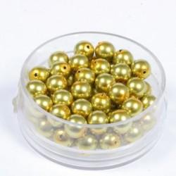 Voščene steklene perle 6mm, olivne, 55 kos