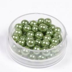 Voščene steklene perle 6mm, t. zelena, 55 kos