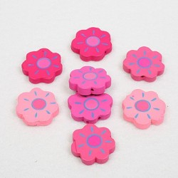 Lesene perle Roža ca 22mm, Roza b. 8 kosov