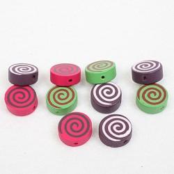 Lesene perle Spirala 15mm, mešane b. 10 kosov